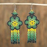 Glass beaded waterfall earrings, 'Green Raining Flowers' - Floral Glass Beaded Waterfall Earrings in Green from Mexico
