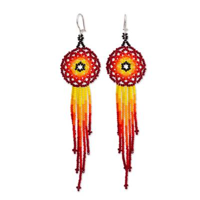 Glass beaded waterfall earrings, 'Sunset Rain' - Glass Beaded Waterfall Earrings from Mexico