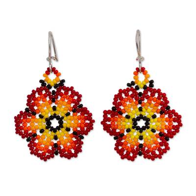 Glass beaded dangle earrings, 'Blazing Flowers' - Glass Beaded Floral Dangle Earrings in Red from Mexico