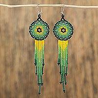 Glass beaded waterfall earrings, 'Verdant Rain'