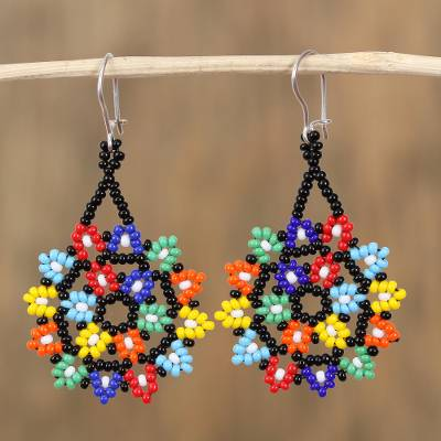 Glass beaded dangle earrings, 'Colorful Stars' - Multicolored Star-Shaped Glass Beaded Earrings from Mexico