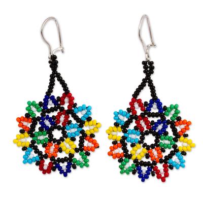 Glass beaded dangle earrings, 'Colorful Stars' - Multicolored Star-Shaped Glass Beaded Earrings from Mexico
