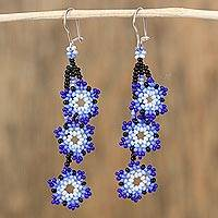 Glass beaded dangle earrings, 'Blue of the Sky' - Glass Beaded Star Motif Earrings in Blue from Mexico