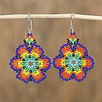 Glass beaded dangle earrings, 'Floral Colors' - Glass Beaded Floral Dangle Earrings from Mexico