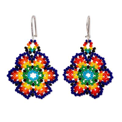 Glass beaded dangle earrings, 'Floral Colors' - Glass Beaded Floral Dangle Earrings from Mexico