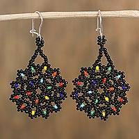 Glass beaded dangle earrings, 'Dark Colorful Stars' - Dark Glass Beaded Dangle Earrings from Mexico
