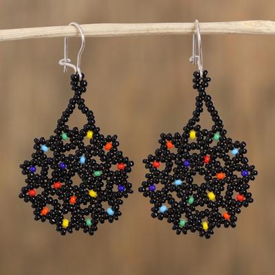 dangle earrings navy blue silver glass beads