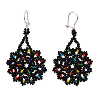 Glass beaded dangle earrings, 'Dark Colorful Stars' - Dark Glass Beaded Dangle Earrings from Mexico