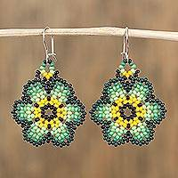 Glass beaded dangle earrings, 'Countryside Flowers' - Glass Beaded Floral Dangle Earrings in Green from Mexico