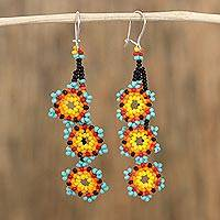 Glass beaded dangle earrings, 'Colors of the Sky' - Glass Beaded Star Motif Earrings from Mexico