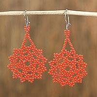 Glass beaded dangle earrings, 'Orange Stars' - Glass Beaded Dangle Earrings in Orange from Mexico