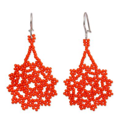 Glass beaded dangle earrings, 'Orange Stars' - Glass Beaded Dangle Earrings in Orange from Mexico