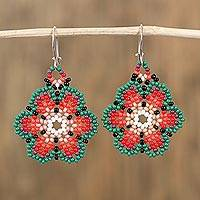 Glass beaded dangle earrings, 'Colors of Mexico'
