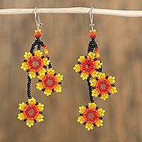 Glass beaded dangle earrings, 'Fiery Stars' - Vibrant Glass Beaded Dangle Earrings from Mexico