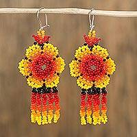 Glass beaded waterfall earrings, 'Fiery Raining Flowers' - Fiery Floral Glass Beaded Waterfall Earrings from Mexico