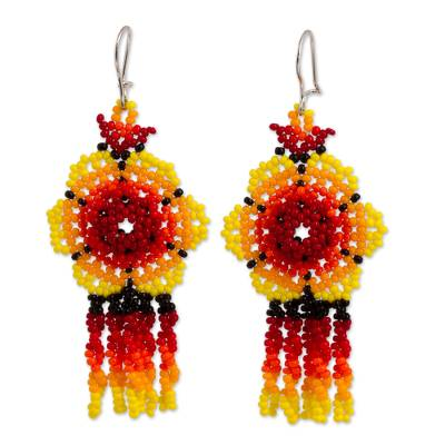 Glass beaded waterfall earrings, 'Fiery Raining Flowers' - Fiery Floral Glass Beaded Waterfall Earrings from Mexico