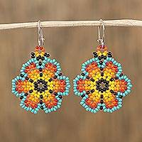 Glass beaded dangle earrings, 'Sky Petals' - Floral Colorful Glass Beaded Dangle Earrings from Mexico