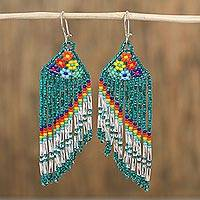 Glass beaded waterfall earrings, 'Rainbow Waters' - Artisan Crafted Glass Beaded Waterfall Earrings from Mexico