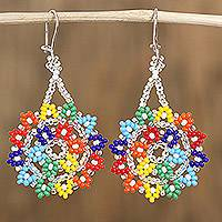 Glass beaded dangle earrings, 'Colors of Happiness' - Multicolored Glass Beaded Dangle Earrings from Mexico