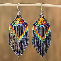 Glass beaded waterfall earrings, 'Rainbow Style' - Rainbow Glass Beaded Waterfall Earrings from Mexico