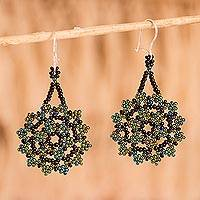 Glass beaded dangle earrings, 'Iridescent Stars' - Iridescent Glass Beaded Dangle Earrings from Mexico