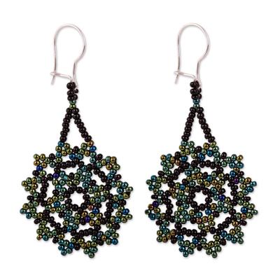 Glass beaded dangle earrings, 'Iridescent Stars' - Iridescent Glass Beaded Dangle Earrings from Mexico