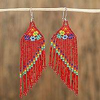 Glass beaded waterfall earrings, 'Rainbow Passion' - Glass Beaded Waterfall Earrings in Red from Mexico