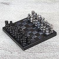 Marble mini chess set, 'Black and Grey Challenge' - Handcrafted Mini Marble Chess Set in Black and Grey