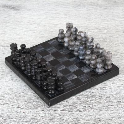 Marble mini chess set, 'Black and Grey Challenge' (5 in.) - Handcrafted Mini Marble Chess Set in Black and Grey