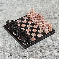 Marble mini chess set, 'Black and Pink Challenge' - Marble Chess Set in Black and Pink from Mexico