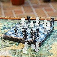 Onyx and marble chess set, 'Black and Ivory Challenge' - Onyx and Marble Chess Set in Black and Ivory from Mexico
