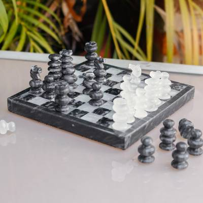Onyx and marble chess set, 'Grey and Ivory Challenge' - Onyx and Marble Chess Set in Grey and Ivory from Mexico