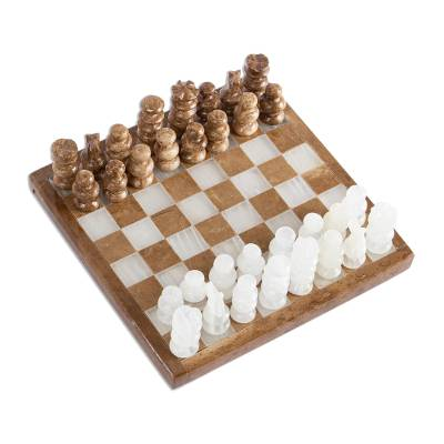 Onyx and marble mini chess set, 'Brown and Ivory Challenge' (5 inch) - Onyx and Marble Mini Chess Set in Brown and Ivory (5 In)