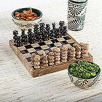 Marble chess set, 'Brown Challenge' (5 in.)