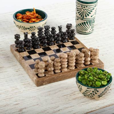 Marble chess set, 'Brown Challenge' (5 in.) - Handcrafted Marble Chess Set in Brown from Mexico (5 in.)