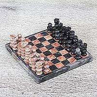 Marble mini chess set, 'Grey and Pink Challenge' - Handcrafted Mini Marble Chess Set in Pink and Grey