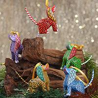 Wood alebrije ornaments, 'Sweet Puppies' (set of 5) - Painted Wood Alebrije Dog Ornaments (Set of 5) from Mexico
