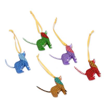 Wood alebrije ornaments, 'Sweet Puppies' (set of 5) - Painted Wood Alebrije Dog Ornaments (Set of 5) from Mexico