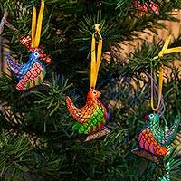Wood alebrije ornaments, 'Sweet Chickens' (set of 5) - Wood Alebrije Chicken Ornaments (Set of 5) from Mexico