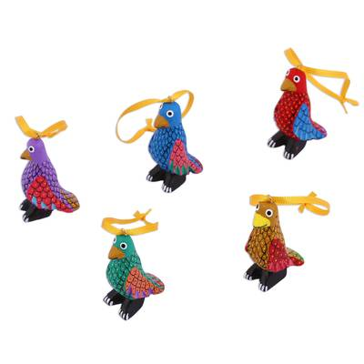 Wood alebrije ornaments, 'Sweet Penguins' (set of 5) - Wood Alebrije Penguin Ornaments (Set of 5) from Mexico