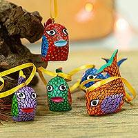 Wood alebrije ornaments, 'Sweet Whales' (set of 5) - Painted Wood Alebrije Whale Ornaments (Set of 5) from Mexico