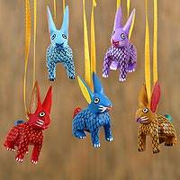 Wood alebrije ornaments, 'Sweet Rabbits' (set of 5) - Wood Alebrije Rabbit Ornaments (Set of 5) from Mexico