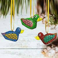 Wood alebrije ornaments, 'Sweet Ducks' (set of 5) - Painted Wood Alebrije Duck Ornaments (Set of 5) from Mexico