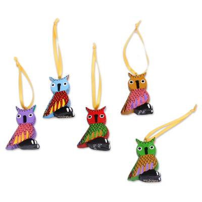 Wood alebrije ornaments, 'Sweet Owls' (set of 5) - Painted Wood Alebrije Owl Ornaments (Set of 5) from Mexico