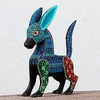 Wood alebrije, 'Little Burro' - Hand Painted Burro Alebrije Sculpture from Mexico