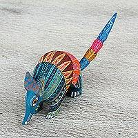 Wood alebrije sculpture, 'Brilliant Armadillo' - Handmade Folk Art Armadillo Alebrije Sculpture