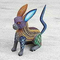 Wood alebrije figurine, 'Chimerical Dog' - Oaxacan Hand Painted Wood Alebrije Dog and Rabbit Figurine
