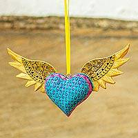 Wood wall decor, 'Winged Heart' - Mexican Handcarved Heart with Wings Hanging Wood Wall Decor
