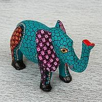 Wood alebrije figurine, 'Elephant Dream' - Mexican Hand Painted Wood Elephant Alebrije Figurine