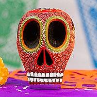 Wood skull figurine, 'Death and Folklore' - Mexican Hand Painted Terracotta Hue Wooden Skull Figurine